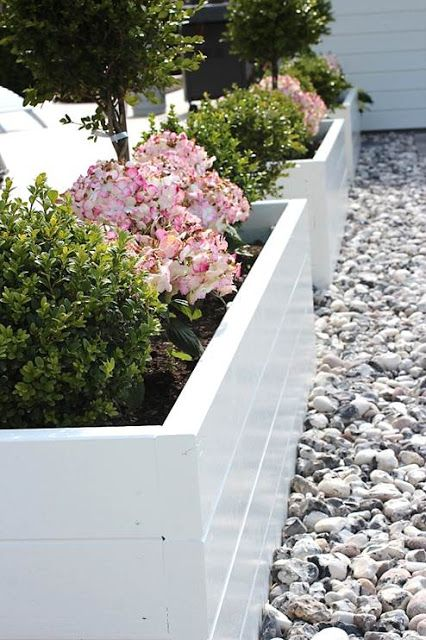 White painted raised beds surrounded by gravel, lovely.