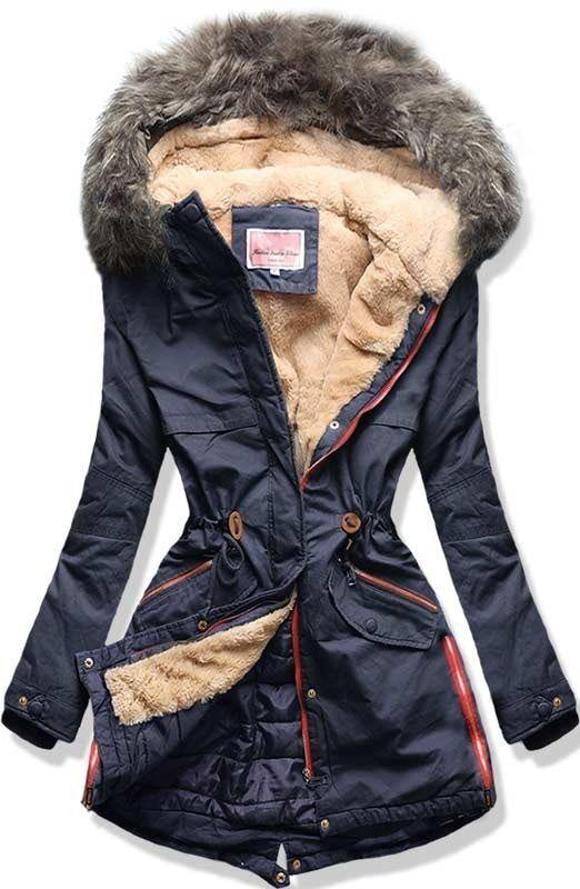 Dámská zimní bunda s kapucí W140 modrá
