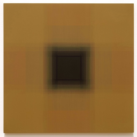 Patsy Krebs   Untitled (gold / black), 2012  Acrylic on panel  Panel: 12 x 12 inches