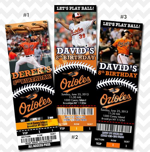 BALTIMORE ORIOLES TICKET INVITATION    This listing is for a 4x6 or 5x7 printable digital file of the custom designed invitation.  Each print will