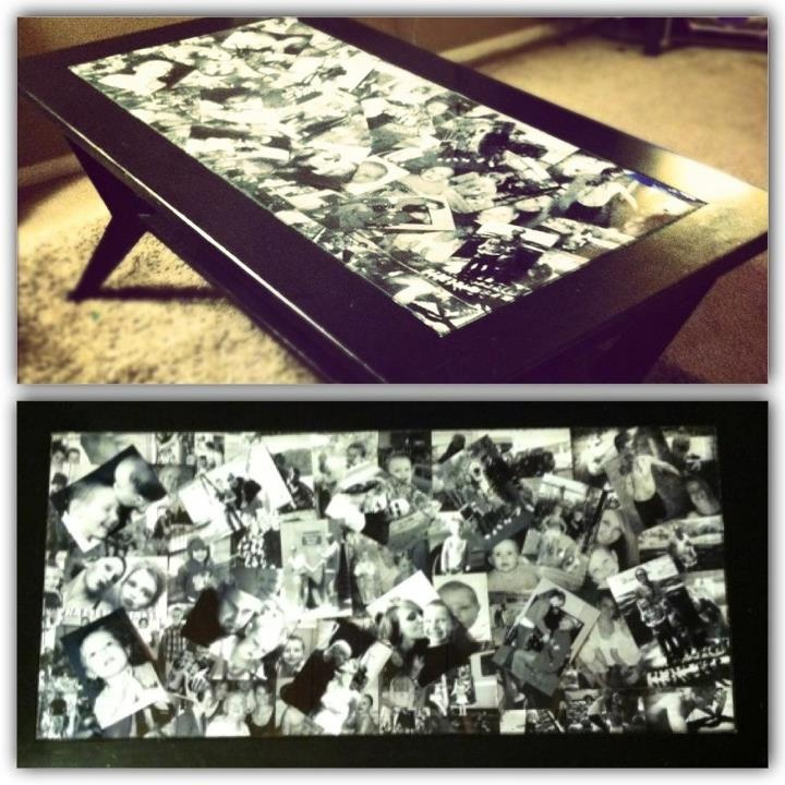 I want to create this for our family room.  Anyone that knows me, knows I LOVE photos everywhere, but I want to do it right.  I think this would be so cute! Old family and friend photos under glass!