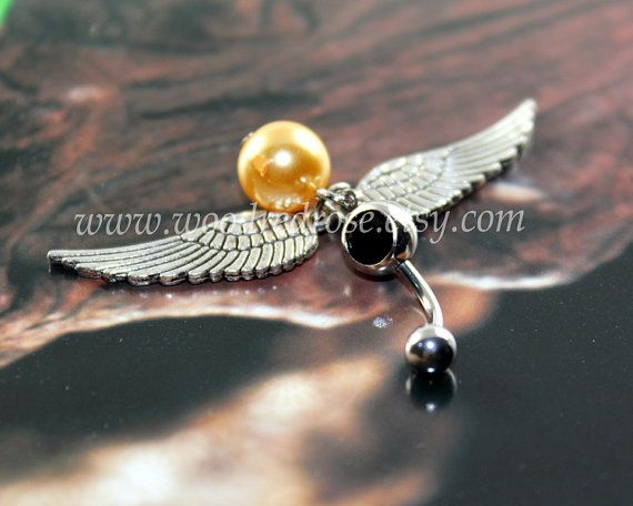 Harry Potter Jewelry Cute Belly Button RingsFeather by woodredrose