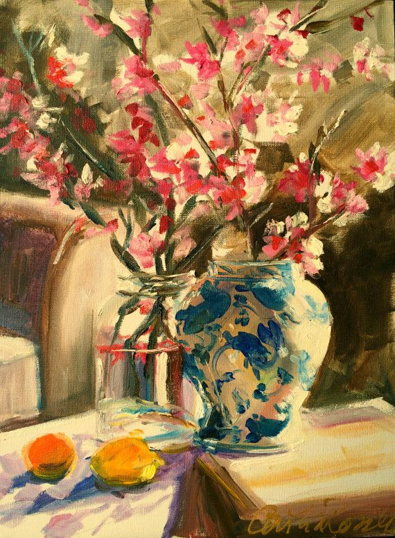 STILL LIFE PAINTING with Chinese Blossoms by CECILIAROSSLEE, $160.00