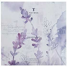 The Thymes Lavender Bath Salts Packet - 2 oz. by Thymes. $5.00. Relaxation a gift we give to ourselves, and pass on to one-another. Brought about by a soothing soak in mineral-rich bath salts infused with the comforting essence of Thymes Lavender. The fragrance is a composition of soft, velvet lavender blended with the warmth of rosewood, clary sage and violet leaf. nurtures the skin with moisturizing jojoba oil, soothing aloe vera and ydrating honey.