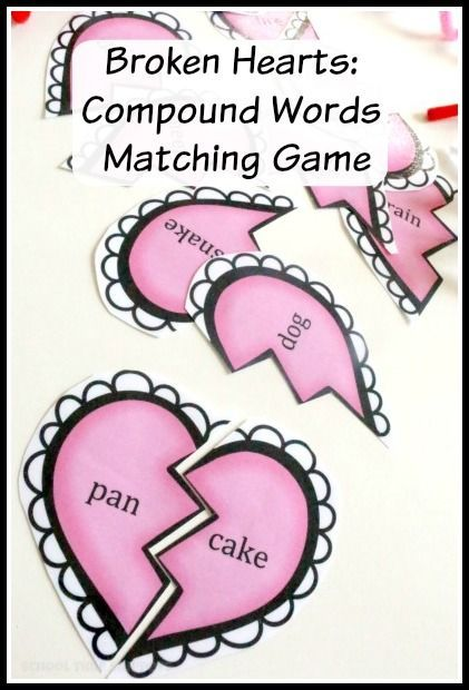 Introduce and/or reinforce compound words with your child with this fun Valentines printable. Love the broken hearts Valentines theme!