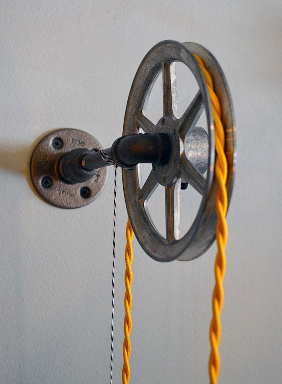 Wall Pulley Light - Vintage Industrial Cast Iron - 1-Wheel - Wall Pulley Pendant - Industrial ...