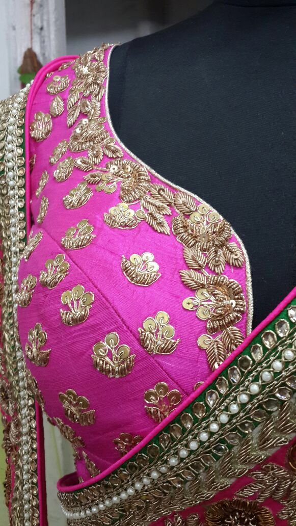 Blouse embroidery on Anarkali upper half (customercare.zaffran@gmail.com)