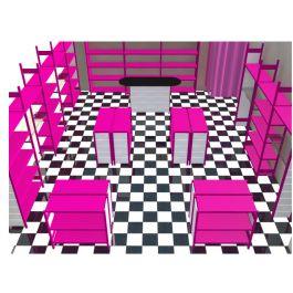 """Allestimento completo """"ARY"""", ideale per negozi di tutti i tipi, abbigliamento, vernici, calzature, ecc...  - See more at: http://www.castellanishop.it/soluzione-arredamento-negozio-economico-lowcost-faidate-fucsia-ary.html#sthash.orH8lxb7.dpuf"""