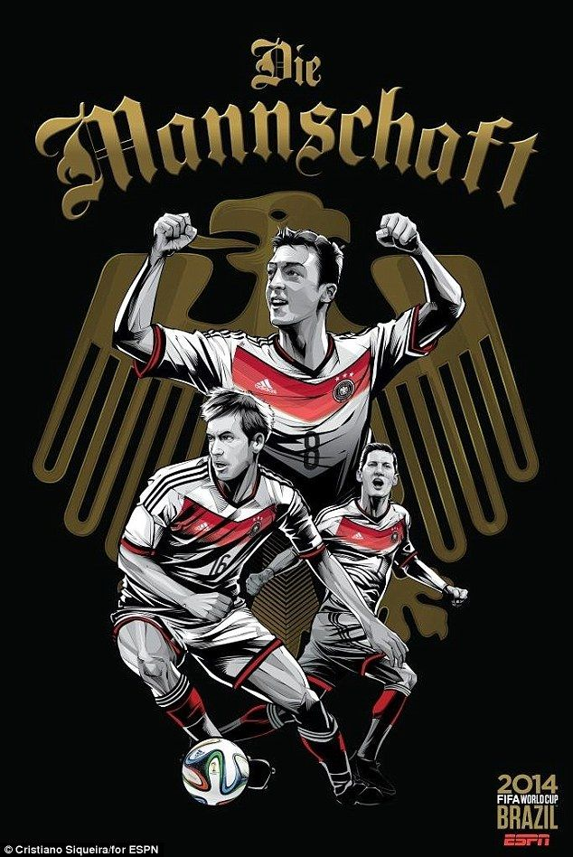 Mesut Ozil, Philipp Lahm and Bastian Schweinsteiger are all included on Germany's poster...