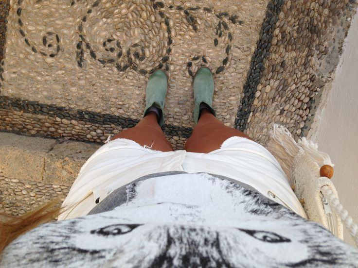 Turquoise boots and stones