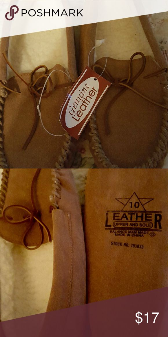 Mens leather slippers Tans leather alipperd with ties in front brand new with tags. Shoes Slippers