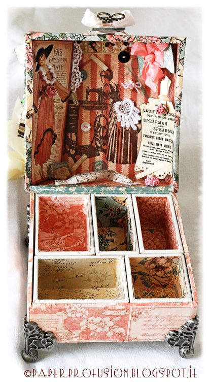 Altered Tim Holtz configurations box using Graphic 45 A Ladies' Diary papers