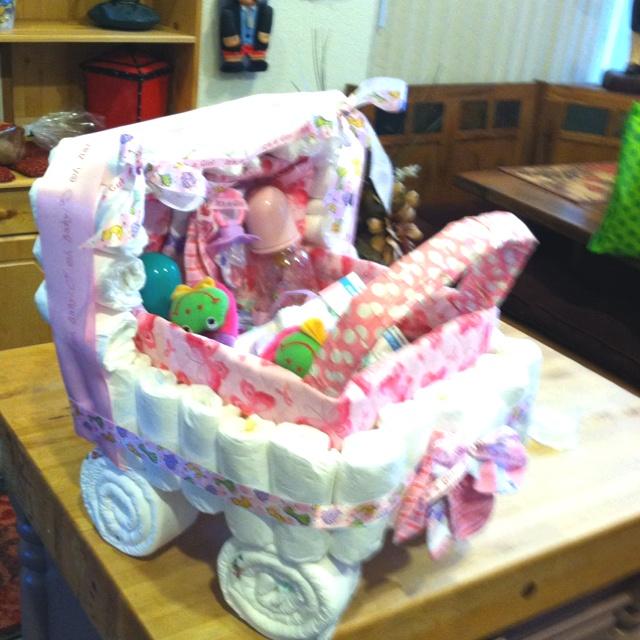 Diy crafts crafts baby shower diaper stroller for Diaper crafts for baby shower