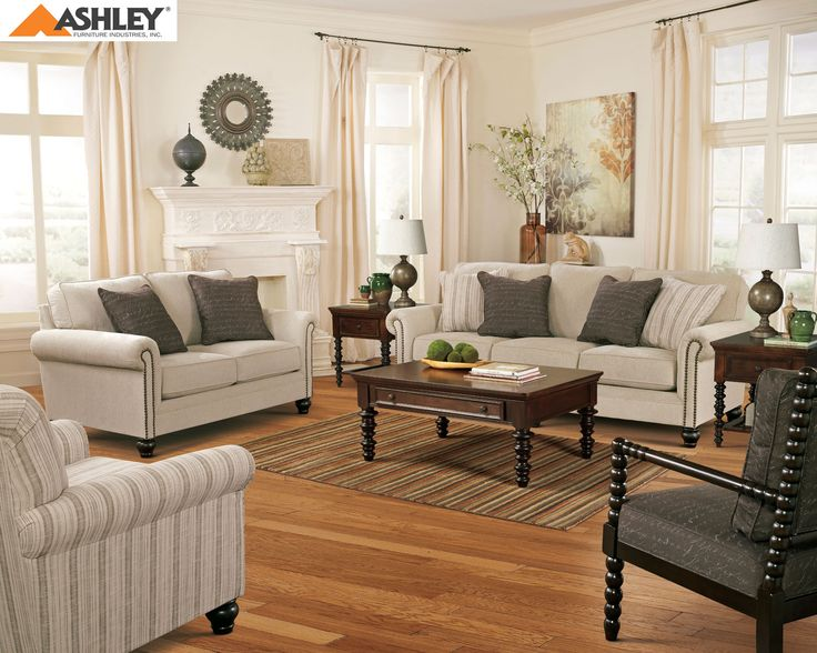 Ashley Milari Linen Fabric Upholstered Casual Style 4 Piece Sofa Set