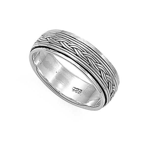 Custom Engraving Men Women 7mm 925 Sterling Silver Band Oxidize Finish Braided R…   – Products