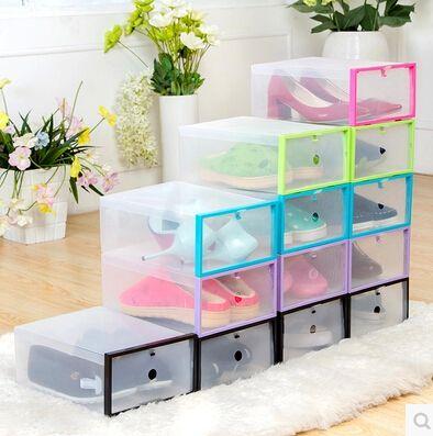 5 UNIDS/SET MODA Multi-función Plegable Claro Fuerte caja de Zapatos De Plástico Caja de Almacenamiento Organizador Cajones Organizador Apilables(China (Mainland))