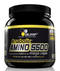 Anabolic Amino 5500 Mega Caps 400 kaps. Olimp. Olimp Anabolic Amino 5500 MC zawiera dodatkową rezerwę aminokwasów rozgałęzionych (L-leucyna, L-walina, L-izoleucyna) oraz tauryny w stosunku do bilansu aminokwasów opartego na aminogramie białka ludzkiego. #aminokwasy #suplementydiety #silownia