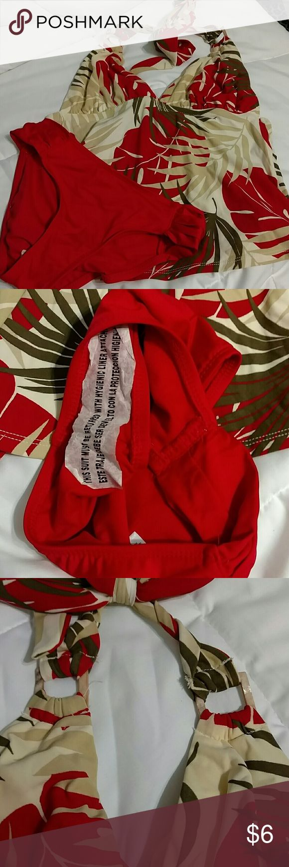 Red tropic tankini set NWOT Red,cream,tan tankini. Ties in back, back is open. NWOT. Mossimo Supply Co Swim