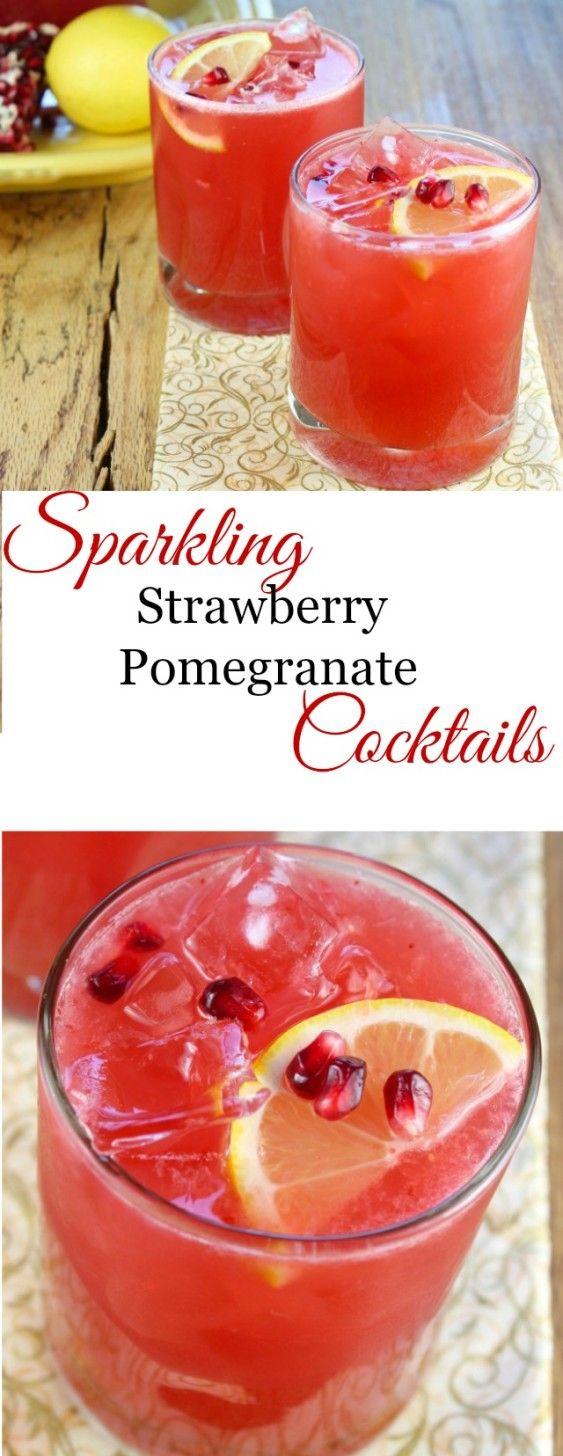 Sparkling Strawberry Pomegranate Cocktails recipe found at missinthekitchen.com