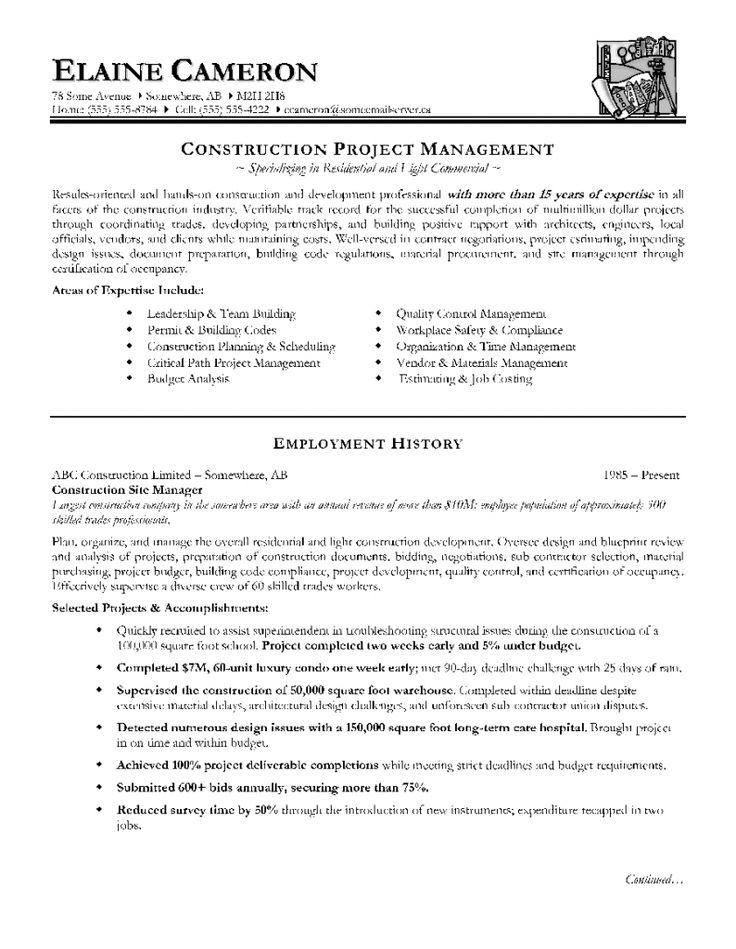 Construction Project Manager Resume Sample Doc publicassets