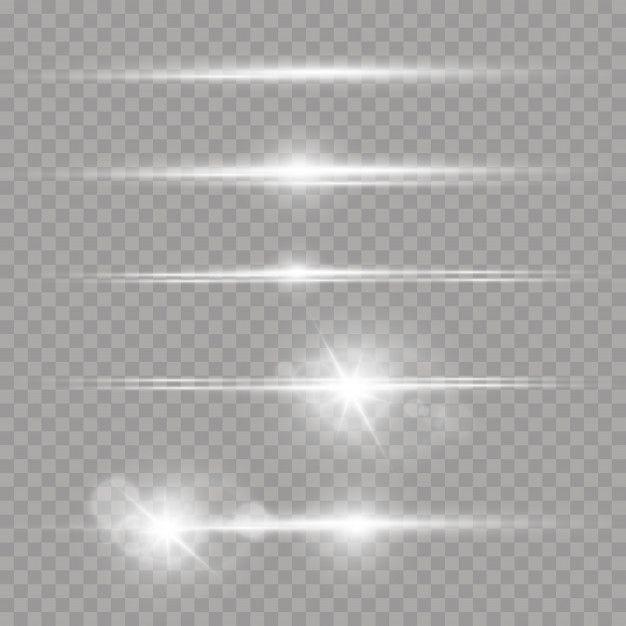 Laser Beams Horizontal Light Rays Set Of White Lens Flares Light Rays Lens Flare Lense Flare
