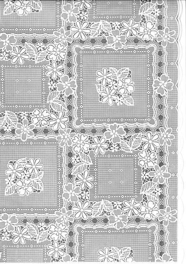 Tafelzeil kant TR672 - Stijlvol kanten tafelzeil met vierkanten en bloemenkransjes. De structuur van het kant is duidelijk voelbaar aan de bovenzijde. Het kanten tafelkleed heeft een wachterdichte onderkant, ook kruimels e.d. vallen er dus niet doorheen. Het tafelzeil is gemaakt van vinyl. Kanten tafelzeilen zijn het mooist op een donker tafelblad of als je er een effen tafelkleed onder legt. Kleur: wit