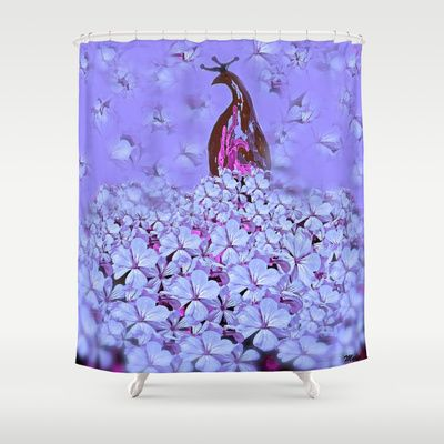 Purple peacock shower curtain on pinterest shower curtains peacocks