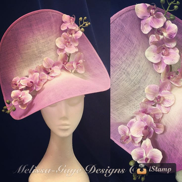 Wild Orchids Headpiece by Melissa-Gaye Designs. Mauve ombré sculpted sinamay dish trimmed with silk orchid flowers. On headband. $160.    https://www.facebook.com/MelissaGayeDesigns