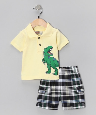 Take a look at this Cream Dinosaur Polo & Plaid Shorts - Infant & Boys by Kids Headquarters on #zulily today!