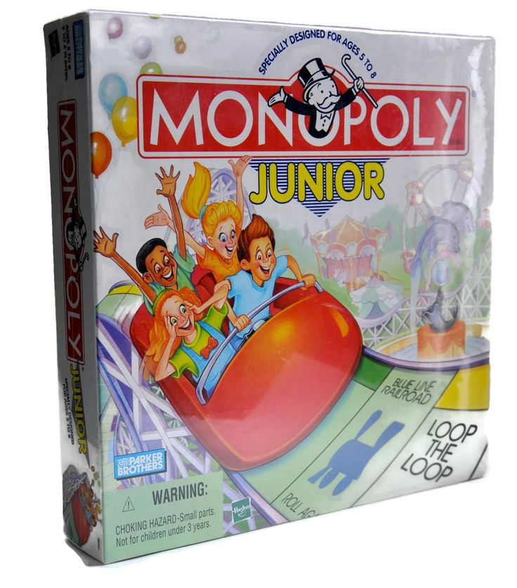 Monopoly Junior-RARE-Parker English Edition 1999. Specially Designed for Ages 5-8. For 2-4 Players. Great Family Game and great for math skills. Includes Junior Board Game, Deck of 24 Chance (?) cards, 48 Ticket booths,. Play money, Die, 4 Car Movers.
