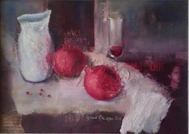 """Bodegon con granadas"" 35*45 cm, lienzo/óleo, 2016"