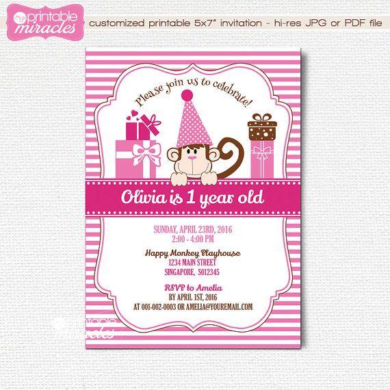 Sweet printable pink monkey birthday invitation Little monkey invite card by MyPrintableMiracles
