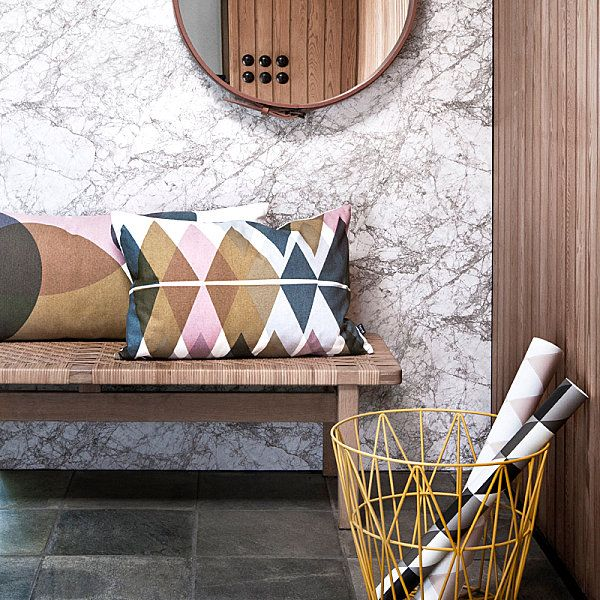 Beautiful Fabric Patten In Pillows Design : Gorgeous Diamond Pattern Pillow Near Long Rattan Bench On The Bottom From Rounded Mirror Near Granite Wall