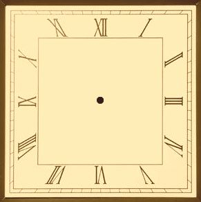 square Clock Face | Roman Square Sepia Analog Clock Face