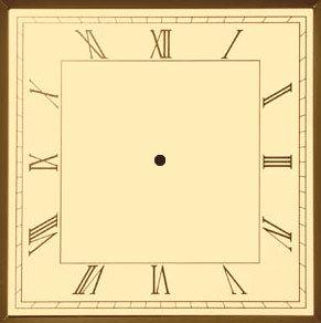 square Clock Face | Roman Square Sepia Analog Clock Face