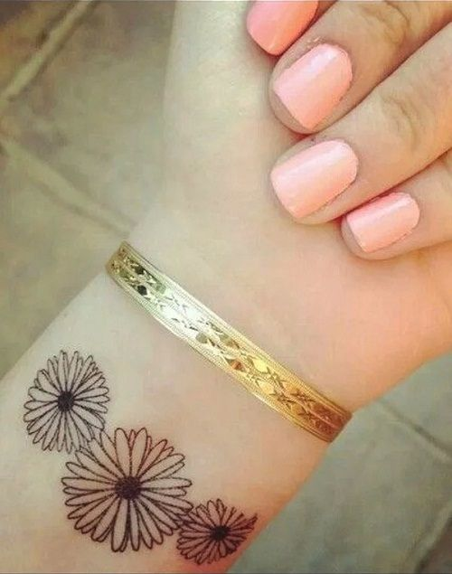 Three Tiny Sunflower Tattoo on Wrist