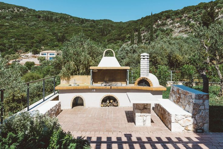 traditional outdoor cooking area in modern 5 bedroom family friendly villa in the hills of Zakynthos near the Peligoni club in greece
