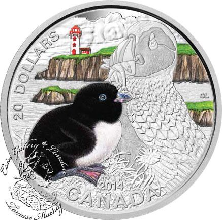 Coin Gallery London Store - Canada: 2014 $20 Baby Animals - Atlantic Puffin Silver Coin, $99.95