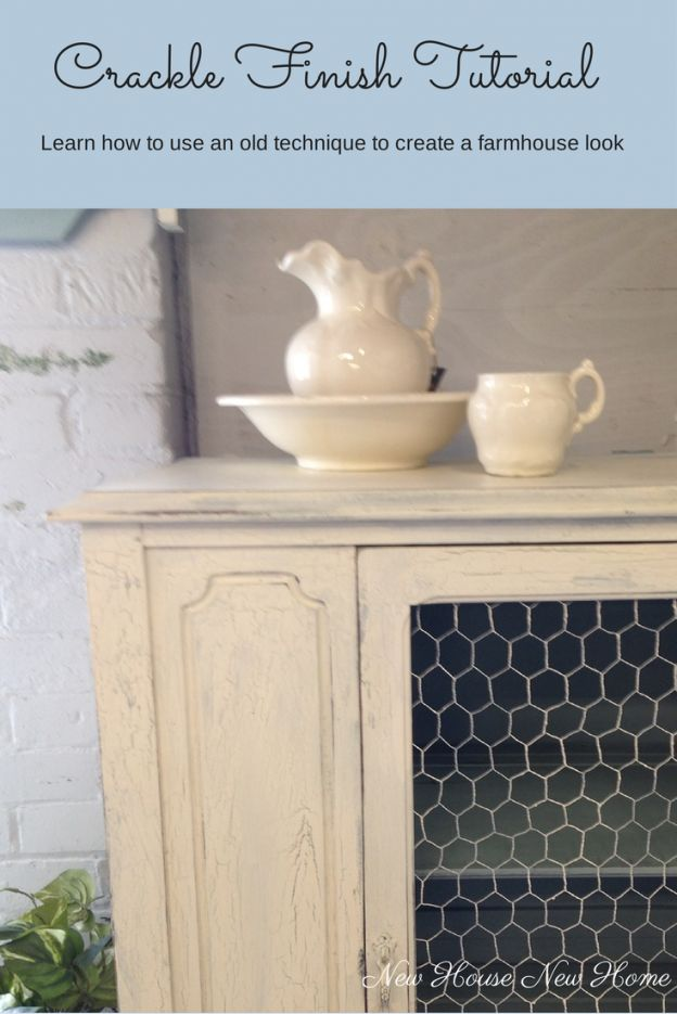 Crackle Finish Tutorial - Learn how to use an old technique to create a farmhouse look #artisanenhancements #paintedfurniture #cracklefinish