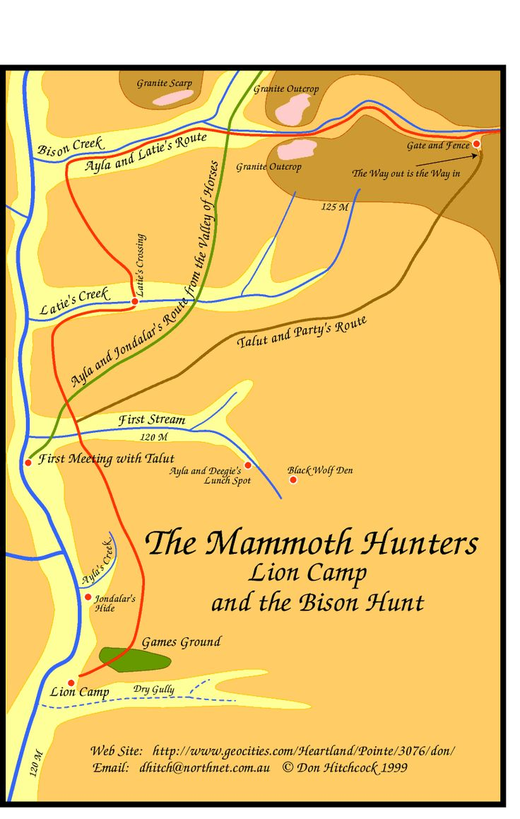 Map of The Mammoth Hunters Lion camp local area