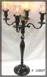 Black Candelabra 33 inch tall with plate, 4 glass votives  110037