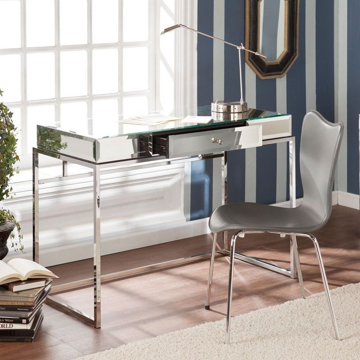 mirrored furniture decor. 9354 upton home adelie mirrored writing desk office furniture entry decor accent