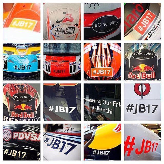 Tributes to Jules Bianchi #CiaoJules #JB17 posted by @jonathan_p1 stolen from @mdavies__f_1 #ScuderiaFerrari #mercedesamgpetronas #lotusf1team #martiniwilliamsracing #redbull #manor #tororosso #sauber #saharaforceindia #mclarenhonda #marussia #F1 #Formula1 #F1Hungary #HungarianGP #JulesBianchi #JB17 #CiaoJules #ripjb #RIPJules