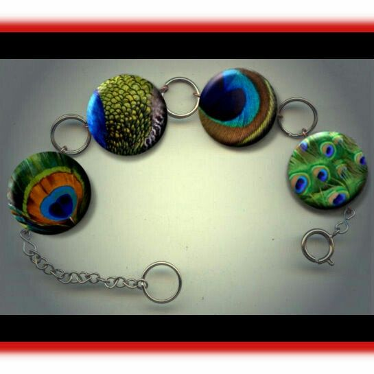 Peacock Bird Feathers asdorted photo jewelry Charm Bracelet by Yesware11 on Etsy.. Click for details!