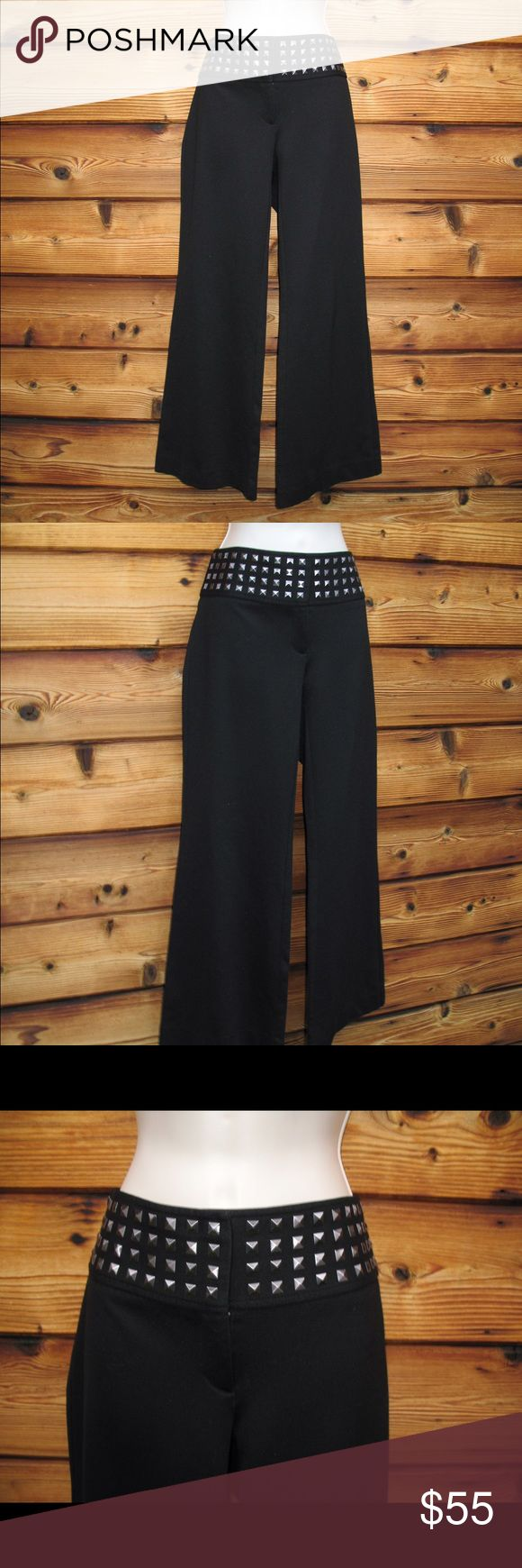 """INC International Concepts Ponte Knit Ankle Pants INC International Concepts Thick Ponte Knit Ankle Pants  *Excellent pre-owned condition. No stains, holes or other signs of use.  Details: INC Size: 6 Color: Black with pewter color studs Thick ponte knit Wide-Leg Ankle length 3 1/4 inch waistband Three hook-eye/zip closure Two back button pockets 60% Rayon/35% Nylon/6% Spandex Machine Wash Inside Out  Measurements: Waist: 32"""" Hips: 36"""" Front Rise: 8 1/2"""" Leg Opening: 22"""" Inseam: 28"""" INC…"""