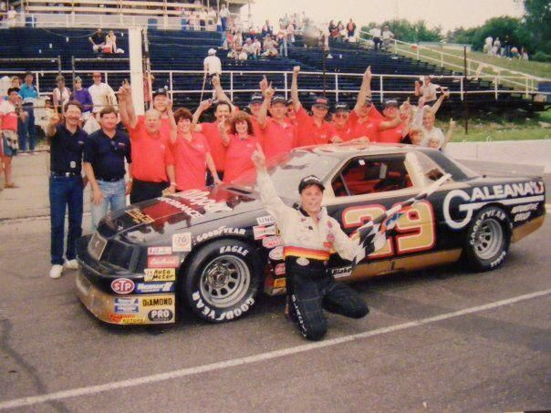 Brian & Brad celebrate after dad,Bob, won an ARCA race at Delaware Speedway in 1992.