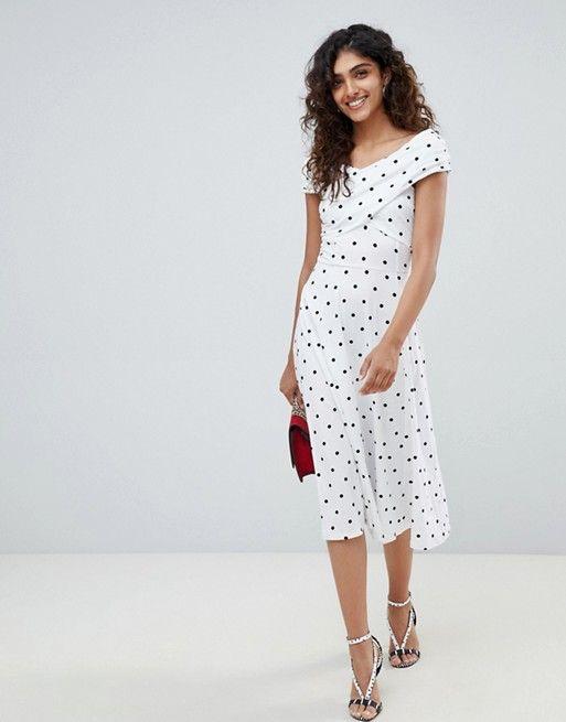286a61479767c8 ASOS Tall | ASOS DESIGN Tall midi skater dress with bardot neckline in polka  dot print