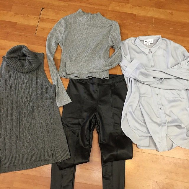 Isa black pants by Premonitio. Which grey top would you wear with our Muui boyfriend shirt, Rosebullett North wind sleeveless or stormy midrif by Rosebullett  #grey #fashion# shop on line www.appletreeboutique.com.au spend over $100 you get free shipping with express post!
