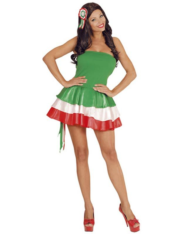 Miss Italy Costume For Ladies By Widmann 7601 Karnival Costumes 21 65 Costumi Di Carnevale Rosso Verde Carnevale