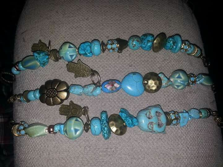 Turquoise bronze and porcelain.